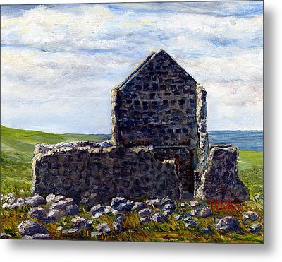 Metal Print featuring the painting Ruins In Tasmania On The Sea Shore by Lenora  De Lude