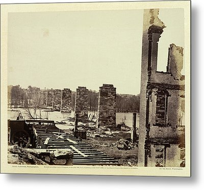 Ruins Of A Railroad Bridge Metal Print by British Library