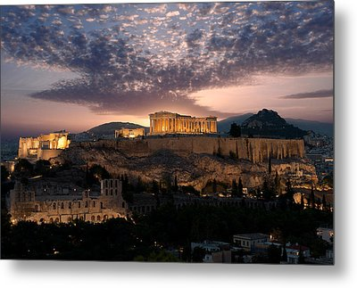 Ruins Of A Temple, Athens, Attica Metal Print by Panoramic Images