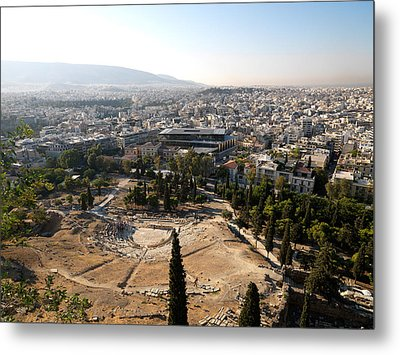 Ruins Of A Theater With A Cityscape Metal Print