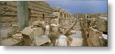 Ruins Of Ancient Roman City, Leptis Metal Print by Panoramic Images