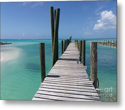Metal Print featuring the photograph Rum Cay Marina Jetty In Bahamas by Jola Martysz
