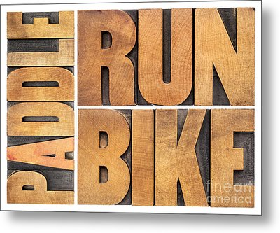 Metal Print featuring the photograph Run Bike Paddle - Triathlon Concept by Marek Uliasz