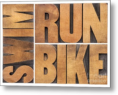 Metal Print featuring the photograph Run Bike Swim - Triathlon Concept by Marek Uliasz