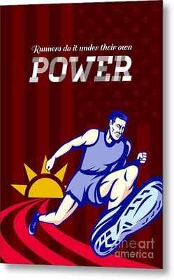 Runner Running Power Poster Metal Print by Aloysius Patrimonio