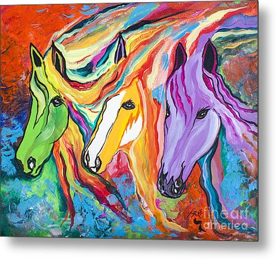 Running Against The Wind Metal Print by Janice Rae Pariza