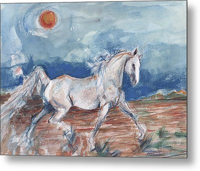 Running Horse Metal Print by Mary Armstrong