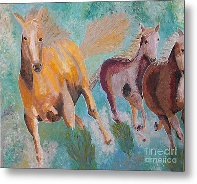 Metal Print featuring the painting Running Horses  by Vicky Tarcau