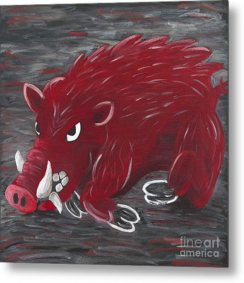 Running Razorback Metal Print by Mona Elliott