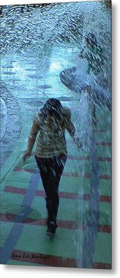 Running Through The Fountains Metal Print