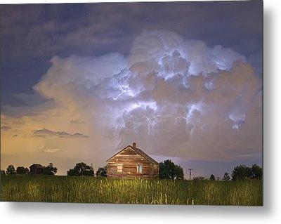 Rural Country Cabin Lightning Storm Metal Print