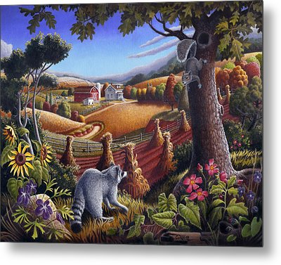 Rural Country Farm Life Landscape Folk Art Raccoon Squirrel Rustic Americana Scene  Metal Print