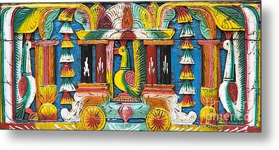 Rural Indian Wood Carving Metal Print