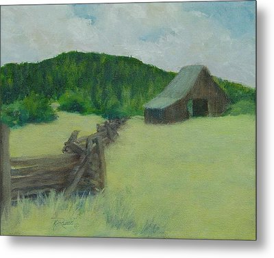 Rural Landscape Colorful Oil Painting Barn Fence Metal Print