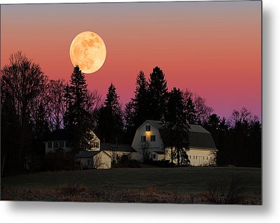Rural Moonrise Metal Print