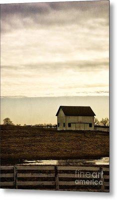 Rural Old Barn Behind Fence Metal Print by Birgit Tyrrell