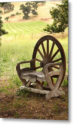 Rural Wagon Wheel Chair Metal Print by Art Block Collections