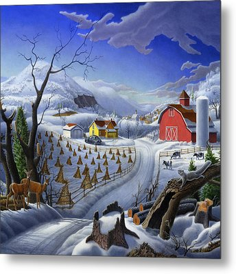 Rural Winter Country Farm Life Landscape - Square Format Metal Print by Walt Curlee