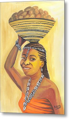 Metal Print featuring the painting Rural Woman From Cameroon by Emmanuel Baliyanga