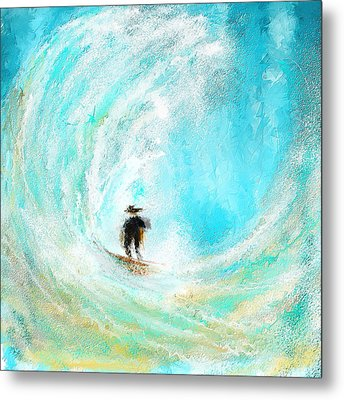 Rushing Beauty- Surfing Art Metal Print