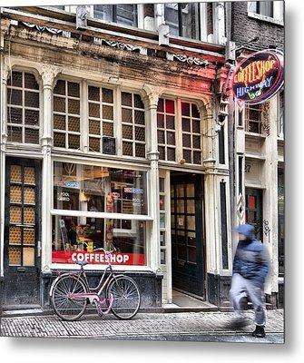 Rushing Past The Amsterdam Kafe Metal Print by Mick Flynn