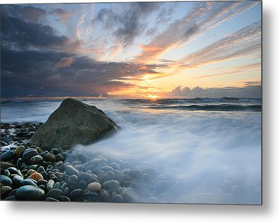 Rushing Water Sunset Metal Print