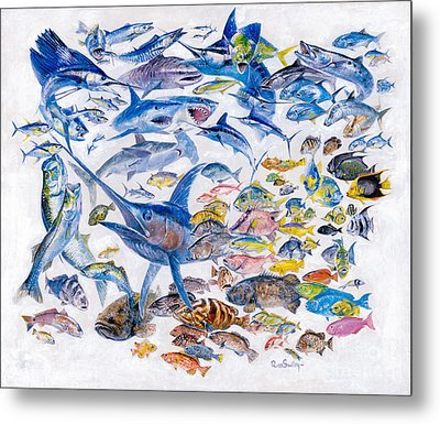 Russ Smiley Gamefish Collage Metal Print by Carey Chen