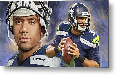 Metal Print featuring the painting Russell Wilson Artwork by Sheraz A