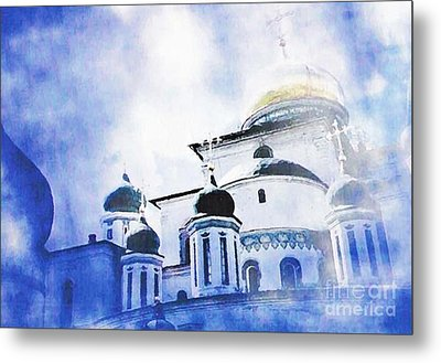 Russian Church In A Blue Cloud Metal Print by Sarah Loft