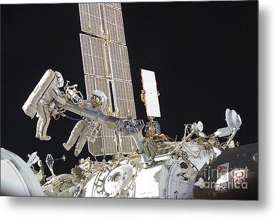 Russian Cosmonauts Working Metal Print by Stocktrek Images