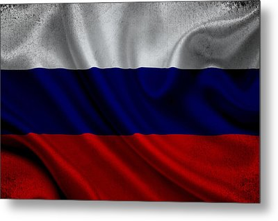 Russian Flag Waving On Canvas Metal Print