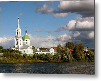 Russian_church_volga-river Metal Print by Elena Ouspenskaia