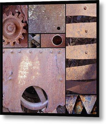 Rust And Metal Abstract  Metal Print by Ann Powell