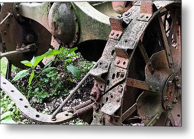 Rusted Axle Planter Metal Print
