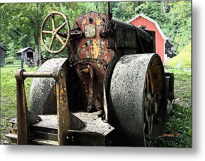 Rusted Buffalo Springfield Roller - Red Barn Metal Print