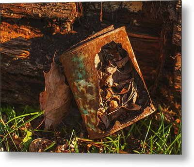 Rusted Can Of Leaves Metal Print by Jack Zulli