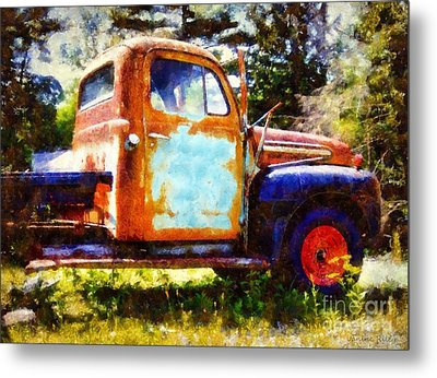 Rusted Old Dodge Pickup Truck Metal Print by Janine Riley