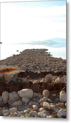 Rusted Pipe Thru Rock Path Metal Print by Holly Blunkall