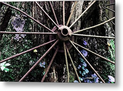 Rusted Spokes Metal Print