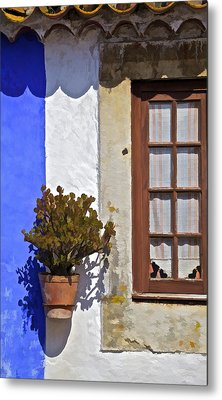 Rustic Brown Window Of The Medieval Village Of Obidos Metal Print by David Letts