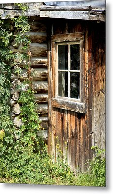 Rustic Cabin Window Metal Print