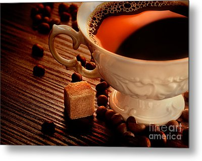 Rustic Coffee Metal Print by Mythja  Photography