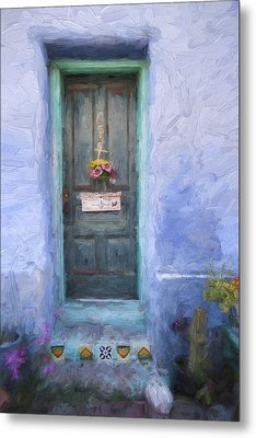 Rustic Door In Tucson Barrio Painterly Effect Metal Print by Carol Leigh