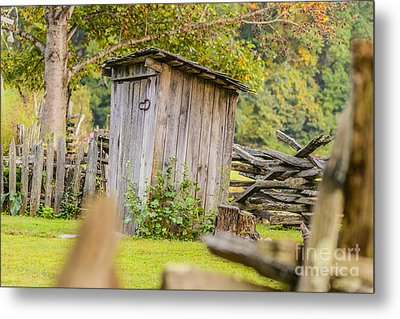 Rustic Fence And Outhouse Metal Print