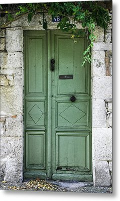 Rustic Green Door With Vines Metal Print by Georgia Fowler