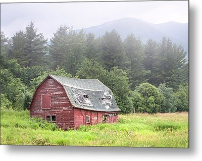 Rustic Landscape - Red Barn - Old Barn And Mountains Metal Print by Gary Heller