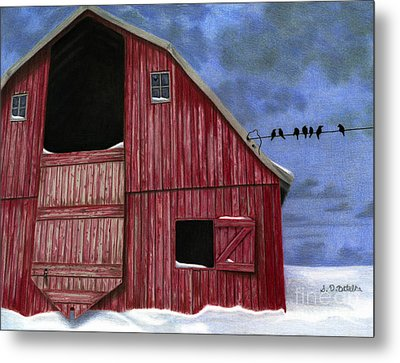 Rustic Red Barn In Winter Metal Print by Sarah Batalka