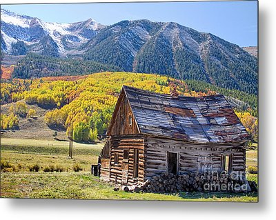 Rustic Rural Colorado Cabin Autumn Landscape Metal Print by James BO  Insogna