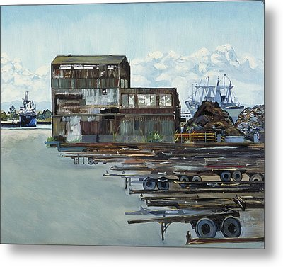 Metal Print featuring the painting Rustic Schnitzer Steel Building With Trailers At The Port Of Oakland  by Asha Carolyn Young