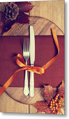 Rustic Table Setting For Autumn Metal Print by Amanda Elwell